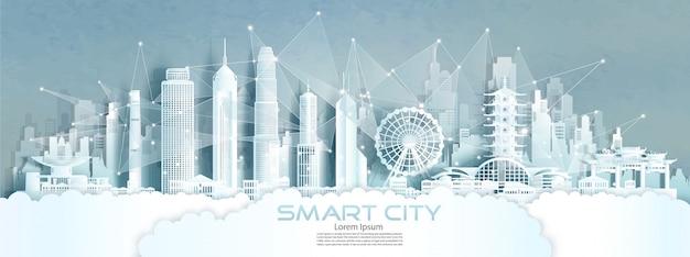 Cidade sem fio de comunicação de rede sem fio de tecnologia com arquitetura na índia.