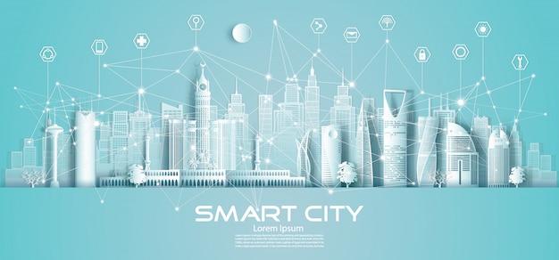 Cidade sem fio de comunicação de rede sem fio de tecnologia e ícone com arquitetura na arábia saudita.