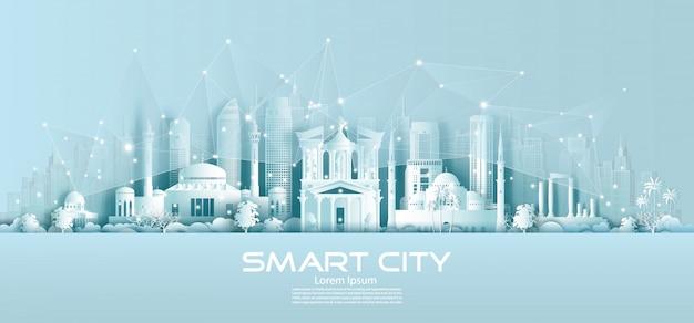 Cidade sem fio de tecnologia rede comunicação inteligente com arquitetura na jordânia.