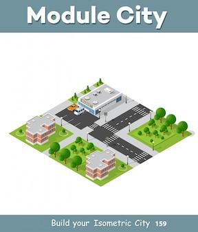 Cidade trimestre vista superior paisagem 3d isométrica projeção