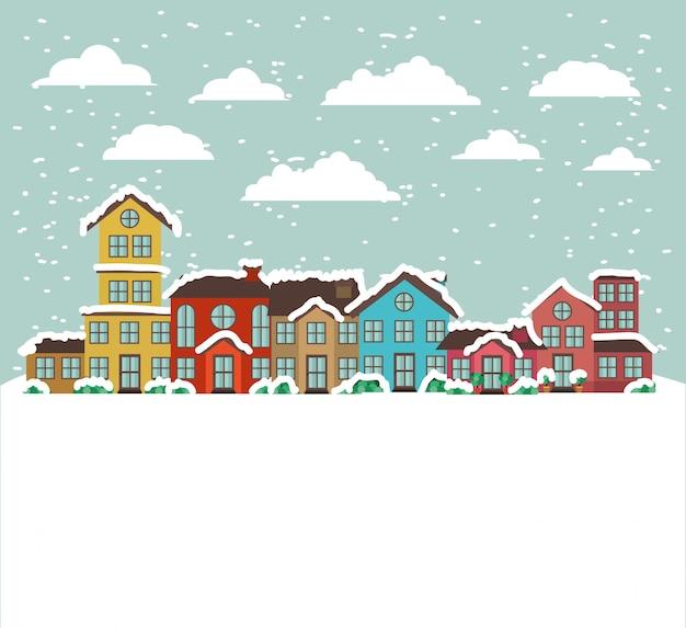 Cidade urbana na cena de snowscape