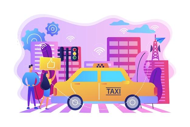 Cidade usando ilustração de tecnologias de sistema de transporte inteligente