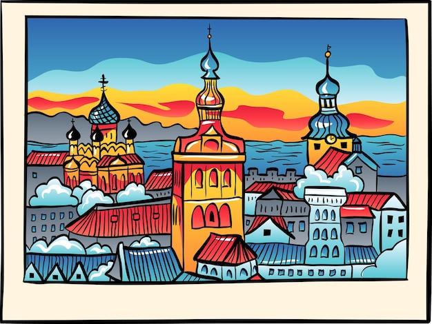 Cidade velha medieval iluminada com a igreja de são nicolau, a igreja catedral de santa maria e a catedral de alexandre nevsky ao pôr do sol em estilo de desenho, tallinn, estônia