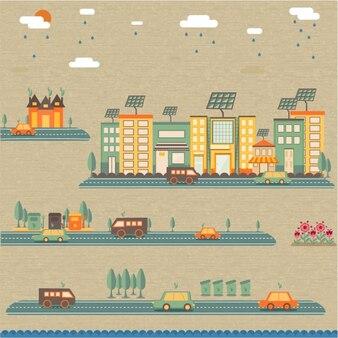 Cidade verde com carros