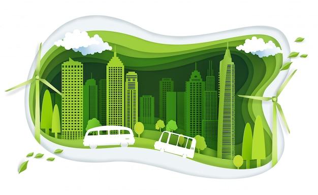 Cidade verde com ideia de construção e ecologia