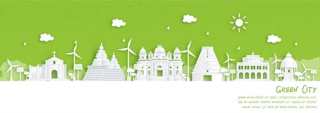 Cidade verde de chennai, índia. conceito de ambiente e ecologia em estilo de corte de papel. ilustração.