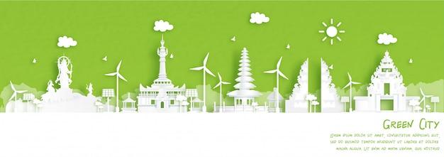 Cidade verde de denpasar, bali. conceito de ambiente e ecologia indonésia em estilo de corte de papel. ilustração.