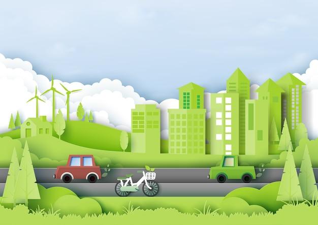Cidade verde eco com conceito de meio ambiente e ecologia