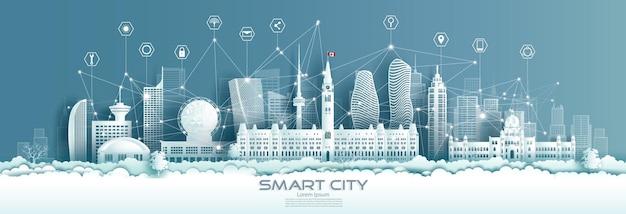 Cidade verde futurista do canadá e vista panorâmica em estilo recortado de papel