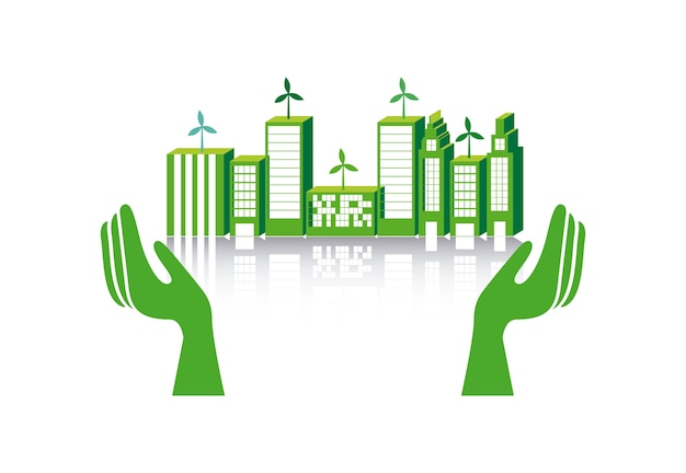 Cidade verde sobre ilustração vetorial de fundo branco