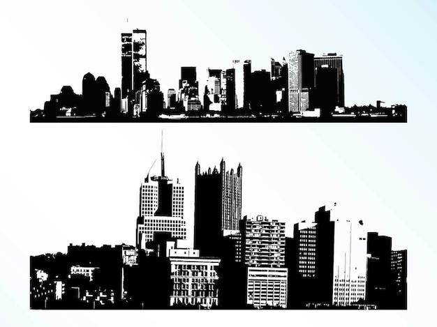 Cidades edifícios arranha-céus banners vetor