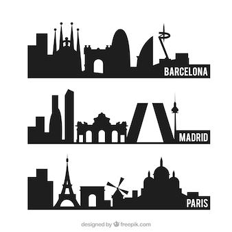 Cidades silhuetas embalar