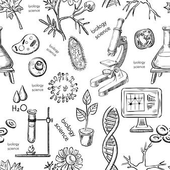 Ciência biológica mão desenho sem costura