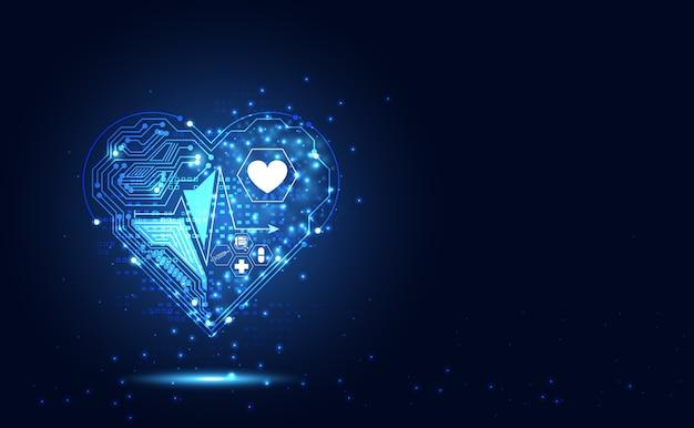 Ciência da saúde abstrata consistem em ícone de coração