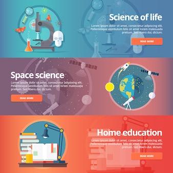 Ciência da vida. biologia. astronomia. estudo do espaço. terra na galáxia. lendo livros. conjunto de bandeiras de educação e ciência. conceito.