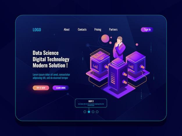 Ciência de dados, processamento de big data, sala de servidores, banco de dados e conceito de data center