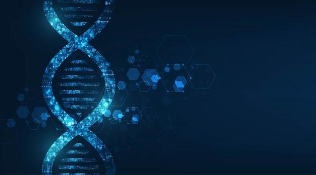 Ciência de tecnologia abstrata, estrutura de código de dna com brilho.