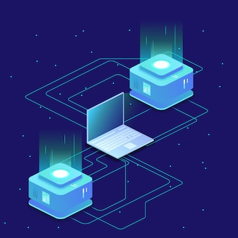Ciência digital, sala de servidores, armazenamento em nuvem, troca de dados, memória de computador, iluminação abstrata isométrica