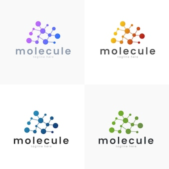 Ciência do conceito do logotipo da ilustração do vetor e molde médico simples e estilo do inclinação
