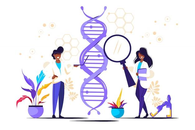 Ciência do dna genético. mostrando cientista investigando dna