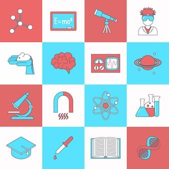 Ciência e pesquisa ícone plana definida com ilustração de isolado vector de livro de chapéu de graduação de dna