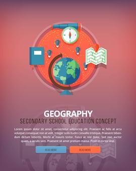 Ciência elementar e acadêmica. estudo de geografia. conceitos de layout vertical de educação e ciência. estilo moderno.