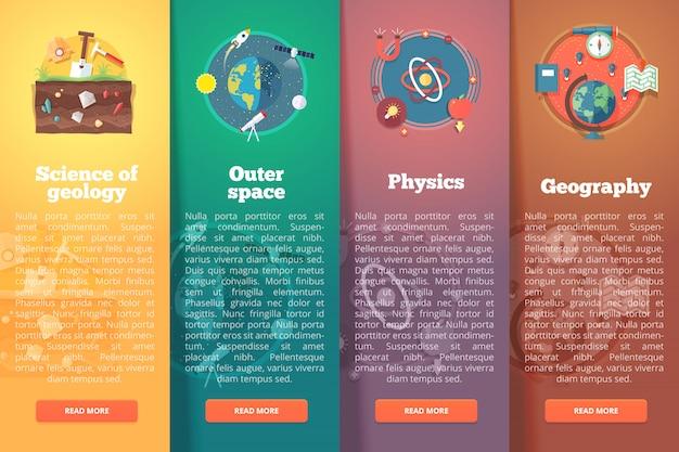 Ciência elementar e acadêmica. geologia. espaço sideral. física e matemática. estudo de geografia. conceitos de layout vertical de educação e ciência. estilo moderno.