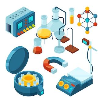 Ciência isométrica. a biologia de suporte de testes de laboratório de química atribui o microscópio científico de tubos de vidro