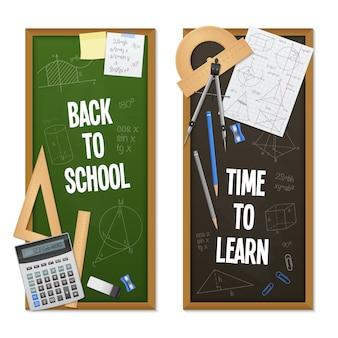 Ciência matemática vertical banners