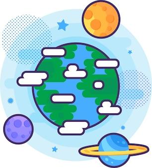 Ciência natural pesquisando vetor de ícone de planeta