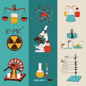 Ciência química e física de investigação científica equipamento de laboratório colorido desenho bandeira conjunto isolado ilustração vetorial