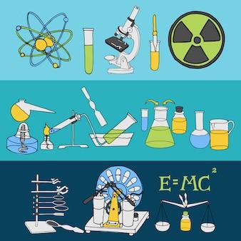 Ciência química e física laboratório científico equipamento colorido esboço bandeira conjunto ilustração vetorial isolado