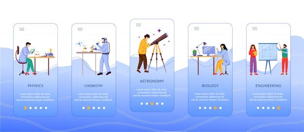 Ciência ramos caracteres onboarding modelo de tela de aplicativo móvel. cientistas e estudantes. etapas do site passo a passo com caracteres simples. ux, ui, gui smartphone conceito de interface dos desenhos animados