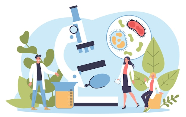 Ciências da biologia. pessoas com microscópio fazem análises laboratoriais. ideia de educação e experiência.