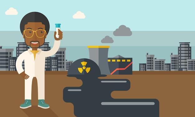 Cientista africano com máscara e tubo de ensaio.