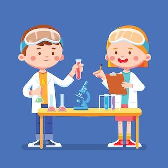 Cientista crianças estudam em laboratório