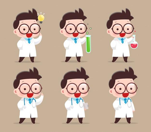Cientista de desenhos animados com tubo de ensaio e experiências científicas