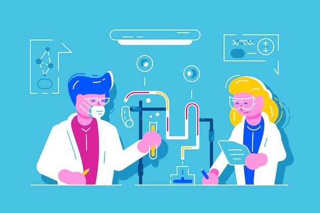 Cientista de homem e mulher trabalhando no laboratório