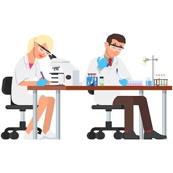 Cientista de laboratório e experimento científico