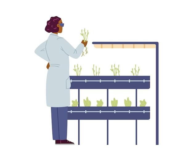 Cientista de laboratório observando ilustração vetorial plana de crescimento de plantas isolada