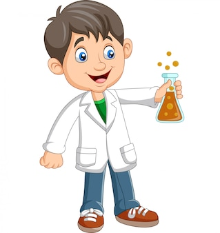 Cientista de menino dos desenhos animados segurando o tubo de ensaio
