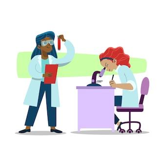 Cientista de mulheres trabalhando juntos no laboratório