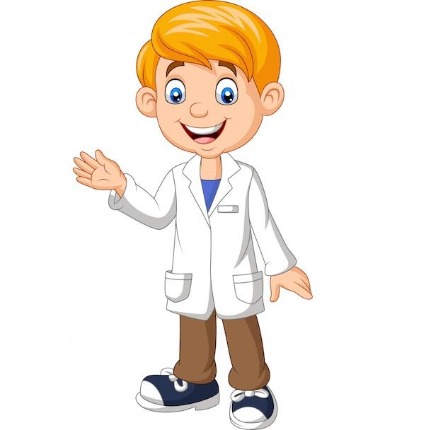 Cientista de rapaz dos desenhos animados vestindo jaleco branco de laboratório acenando