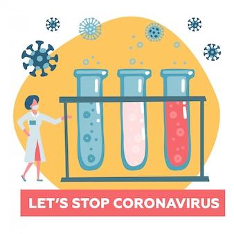 Cientista doctor testando sangue para coronavírus perigoso cov. modelo de campanha de conscientização para o site, página de destino com apelo à ação. ilustração plana.