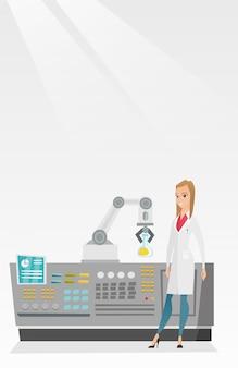 Cientista e braço robótico conduzindo experimentos