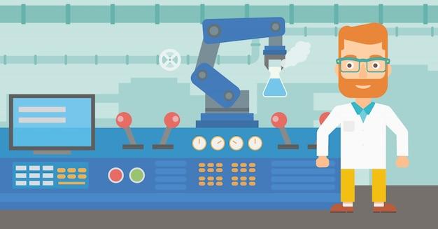 Cientista e braço robótico realizando experimentos.