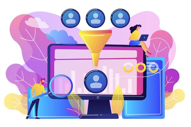 Cientista e especialista em dados extraem conhecimento e percepções dos dados. análise de ciência de dados, controle de aprendizado de máquina, conceito de análise de big data. ilustração isolada violeta vibrante brilhante