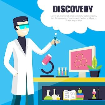 Cientista e ilustração de descoberta de laboratório