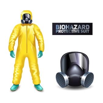 Cientista, em, amarela, biohazard, fato protetor, e, máscara, isolado