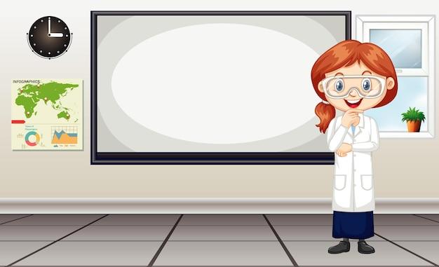 Cientista em pé ao lado do quadro branco